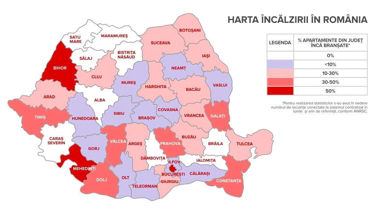 Harta încălzirii cu centrale termice în România