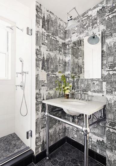 Cum foloseşti corect albul şi negrul într-o baie cu stil